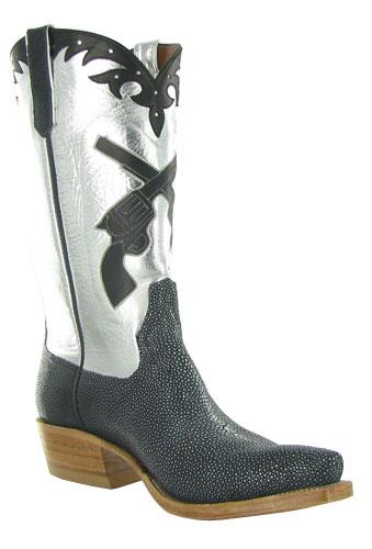 Rios of Mercedes silver & black guns cowboy boot