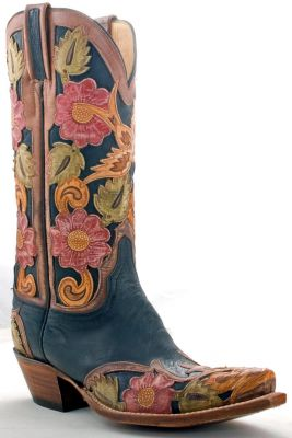 Tooled Lucchese cowboy boots