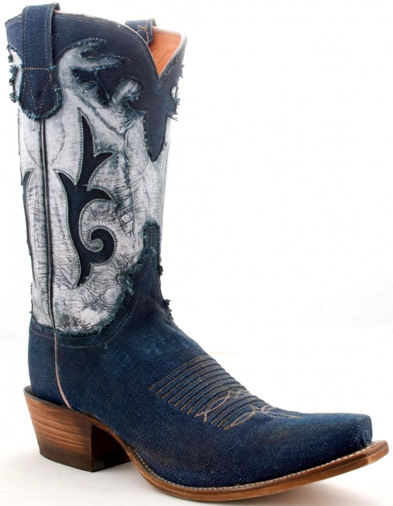 Stone washed denim Lucchese cowboy boots