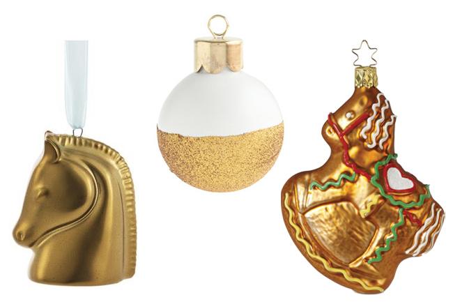 gold horse ornaments horses heels - Horse Christmas Ornaments