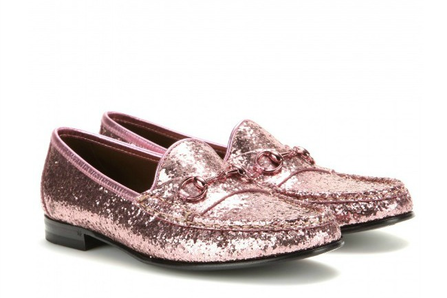 673d8519988 Gucci Pink Glittery Horse Bit Loafers
