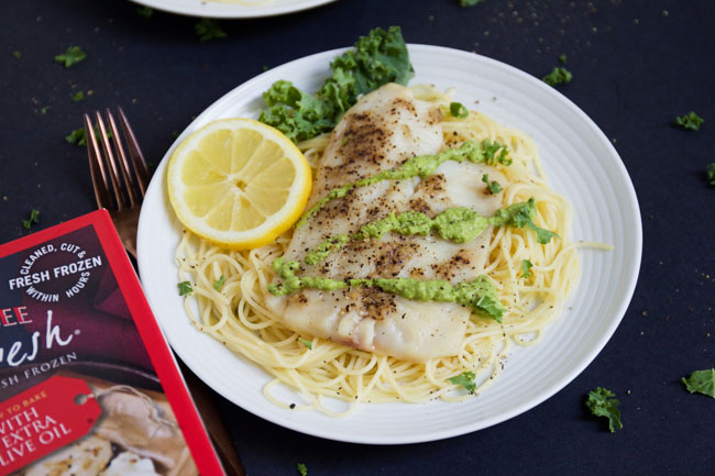 Tilapia With Angel Hair And Kale Pesto Horses Heels