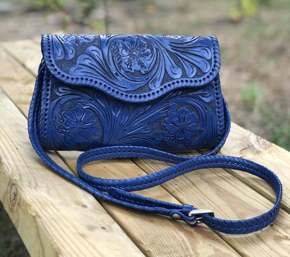 Blue leather hand tooled purse
