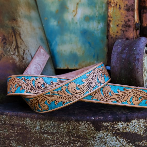 Custom floral vine turquoise painted leather belt