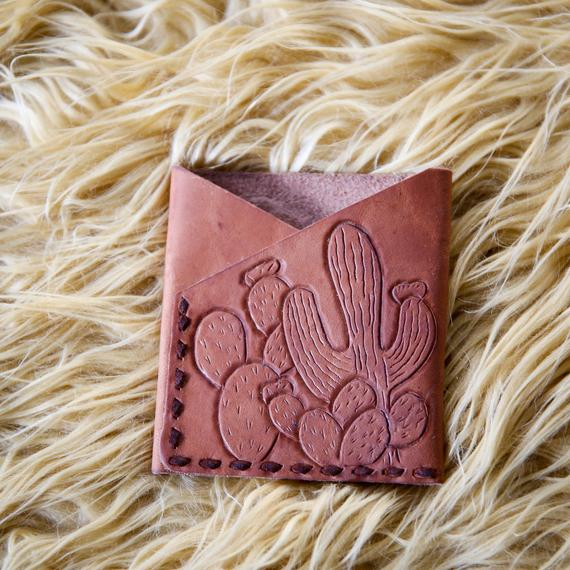 Handmade leather saguaro and prickly pear southwest card wallet