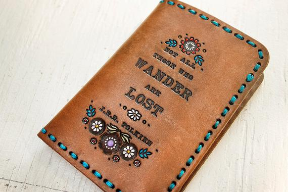 Leather passport cover floral wallet