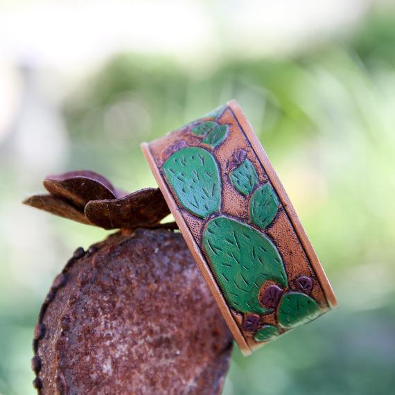 Prickly pear cactus painted leather cuff