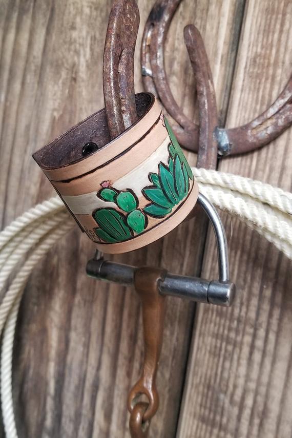 Tooled leather cactus cuff