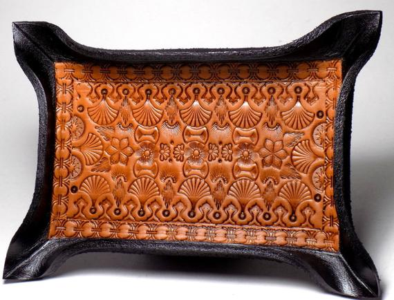 Tooled leather valet tray
