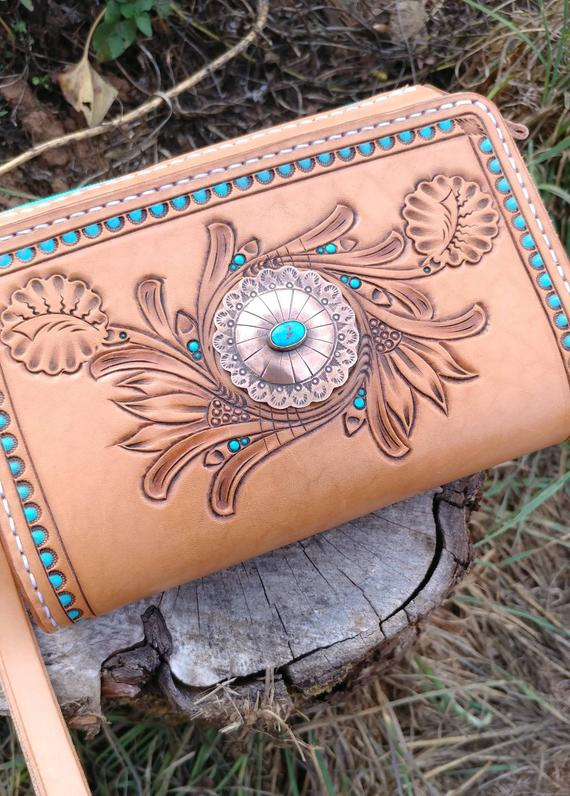 Western clutch with turquoise and tooling