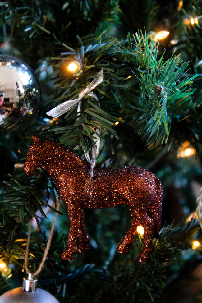 bronze glittery horse ornament