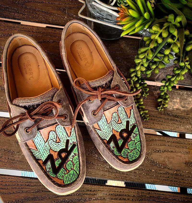 Tooled Leather Western Inspired Shoes