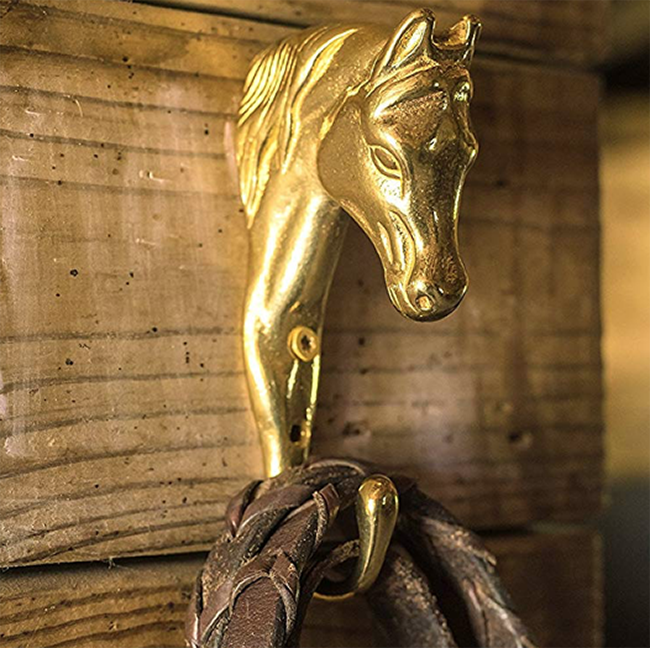 Brass horse head hook