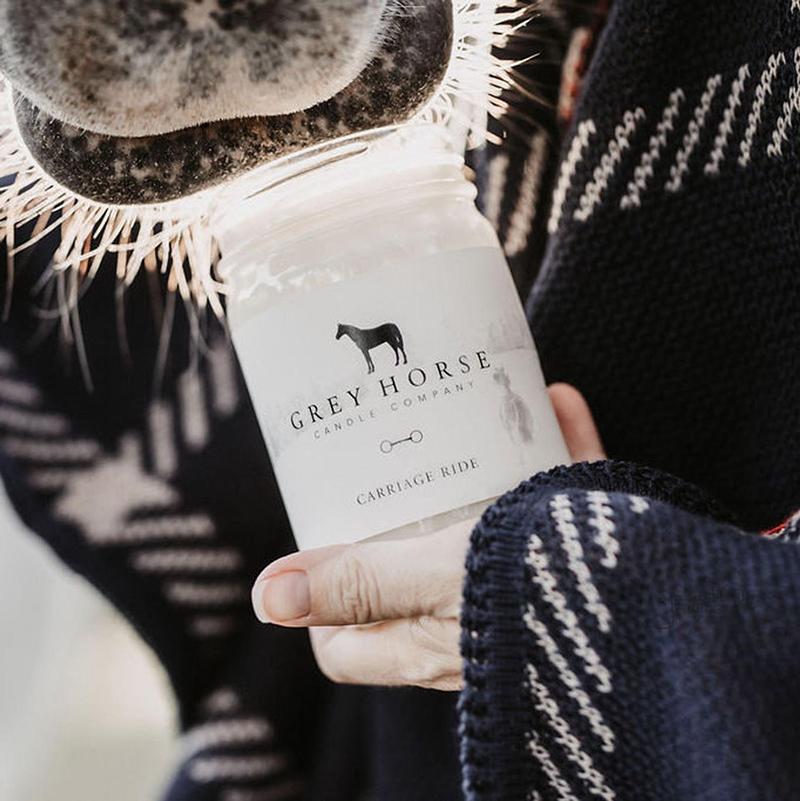 Promenade en calèche bougie cheval gris