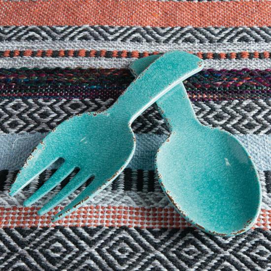 Ustensiles de service en mélamine craquelé turquoise