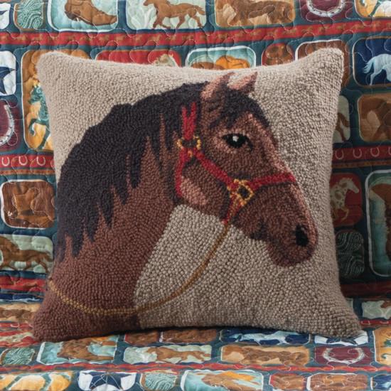 Almofada de gancho com cabeça de cavalo