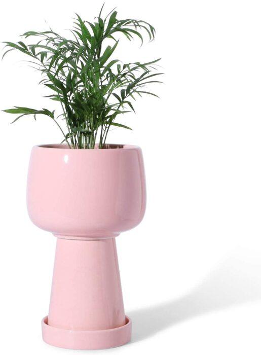 Jardinière en céramique rose